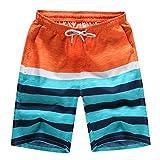MOIKA Herren Boardshorts, Herren Shorts Badehose Quick Dry Beach Surfen Laufen Schwimmen Wasserhosen Badehose Kurze Badepants(3XL,Orange)
