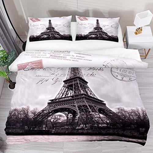 Soefipok Bettwäsche Bettbezug Set Vintage Eiffelturm Stempel Kunst gedruckt Tröster Set mit 2 Kissenbezügen 3 Stück weich, 1 Bettbezug mit 2 Kissenbezügen (Tröster Eiffelturm)
