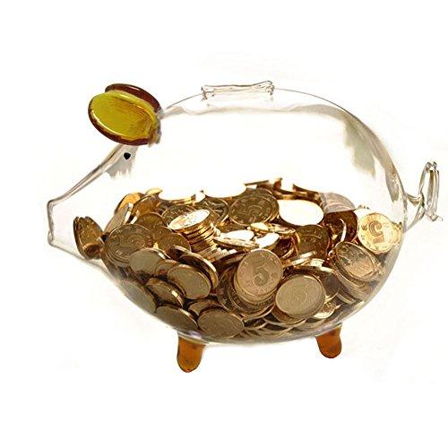 Klares Gold Glas molliges Schwein Sparschwein Geld sparen Kasse Münze Box Geburtstag Hochzeit Home Decor 15cm