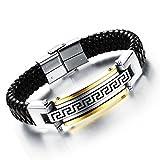 GYJUN Herren-Armband 24 k Greatwall-Grain-Leder gewebt Titan Stahlprodukte Schmuck , one size