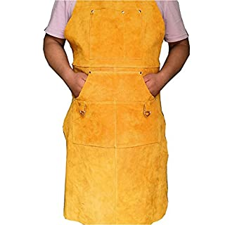 Safety Work Apron Flame-Resistant Leather Welding Grill Apron Workshop Tool Aprons Leather Welding Apron Multi-Us Leather Work Welding Grill Apron Workwear Utility Apron (Yellow),CS-WQ02