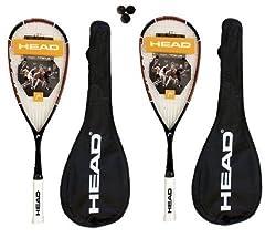Head Nano Ti.110 Titanio Raquetas Squash + 3 Dunlop Pelotas De Squash, 2 Piezas - Peso del marco sin cuerdas- 110g - Construcción- 100% Nano Titanio/Carbono - El juego contiene 2 cabezales Nano, raquetas de Squash 110 y un paquete de 3 pelotas de squ...