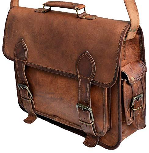 41 cm grande, hecho a mano, marrón, elegante, vintage, cuero suave, bolsa de mensajero, bolsa de hombro para tabletas de ordenador portátil, perfecto para viajes y maletín de oficina para hombres