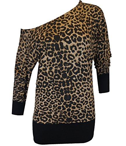 FabFashion UK Damen Kleid Small Gr. 34-36, Leopard Print - Stretchy Sexy Casual Loose Shirt (Sexy Leoparden-print Kleid)