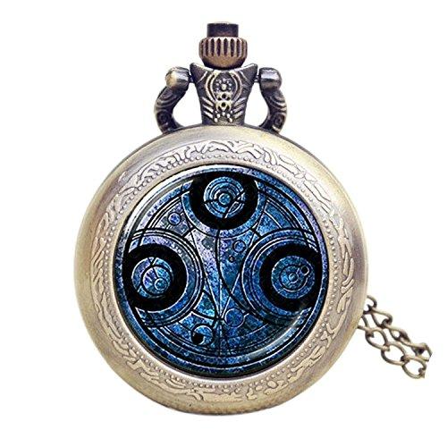 Dr. Who Quarz-Taschenuhr für Herren/Jungen in einem Retro-/Vintage-Gehäuse mit Bronze-Effekt, Savonnette, an einer 80cm Kette, auch als Halskette verwendbar