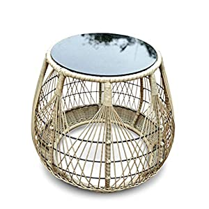 51fUdy0miYL. SS300  - Pulling Rattan Table/Balcony Small Coffee Table,Tempered Glass Table Top, Suitable for Outdoor, Living Room, Balcony, Round, Wood Color (72×72×60cm)