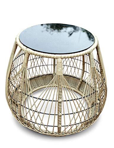 Table de Rangement en rotin/Petite Table Basse pour Balcon, Plateau en Verre trempé, Convient à l'extérieur, Salon, Balcon, Rond, Bois (72 × 72 × 60 cm)