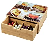 Kesper 50950 - Scatola con cassetto per capsule caffè o tè, in bambù, dimensioni: 30 x 31 x 9,5 cm
