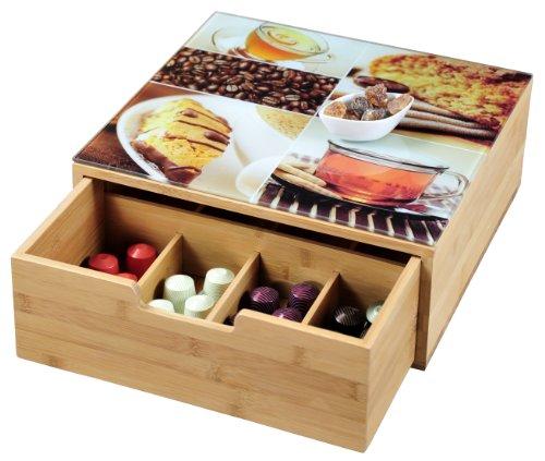 Kesper 50950 Box mit Schublade für Kaffee-Kapseln oder Teebeutel, Bambus, Maße: 30 x 31 x 9.5 cm