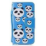 iPhone 6 Hülle, iPhone 6S Hülle BONROY Handy Tasche Schutz Hülle im Bookstyle für iPhone 6 6S (4,7 Zoll) Malerei Muster PU Leder Wallet Case Flip Cover Magnetisch Schutzhülle mit Standfunktion Kartenfächer mit Weich TPU Innere Hülle Case (Blau,Panda-Rätsel)