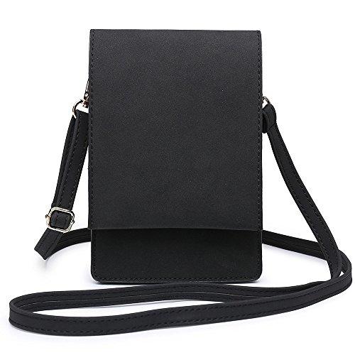 SHOMICO Handy Schultertasche,Handytasche, Kleine Umhängetasche für Damen Kopfhörer Mini Sack Mädchen Frauen (SCHWARZ) - Stylische Mini Handtasche