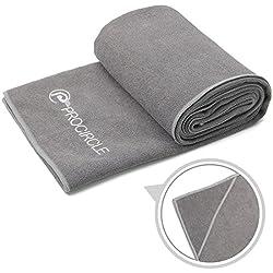 PROCIRCLE® Toalla de Yoga Microfibra Yoga Towel - 183 cm x 61 cm - Antideslizante para Yoga Caliente, Yoga de Bikram, Yoga de Ashtanga - Super Absorbente, Lavable a Máquina, Secado Rápido - Maletín de Transporte Gratuito