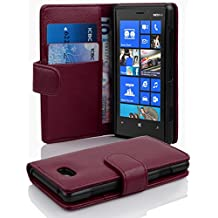 Cadorabo - Book Style Hülle für Nokia Lumia 820 - Case Cover Schutzhülle Etui Tasche mit Kartenfach in BORDEAUX-LILA