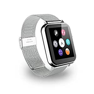 Jiyanshi Z50 Smart Watch Phone (Silver) with Bluetooth V3.0/G-Sensor/ Camera/Sleep Monitoring/Sedentary Reminder SIM Card & TF Slot/Call SMS Sync Feature Compatible for LG L90