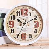 kinine Pintado de pared del hogar europeo vintage de hierro de un solo lado de la pared reloj con el reloj de pared decorativo del salón