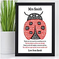 Ladybird Gifts for Teachers - PERSONALISED Teachers Presents - Gifts for Teachers, Teaching Assistants, Nursery, TA, Head Teacher, End of Term, School Leaving - Teacher Appreciation Print