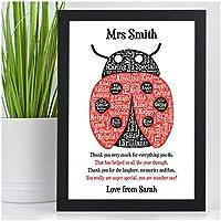 Ladybird Gifts for Teachers - PERSONALISED Teachers Presents - Gifts for Teachers, Teaching Assistants, Nursery, TA, Head Teacher, End of Term, School Leaving - Teacher Appreciation Print