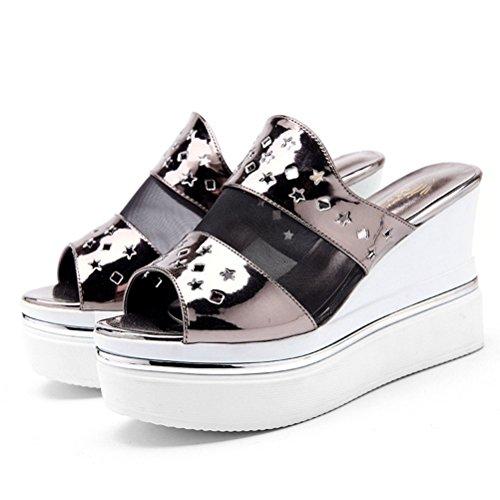 Damen Sommer Moderne High Heels Sandalen Riemenschnalle Keilabsatz Slip-on Modische Anpassened überall Plateau Schuhe Grau