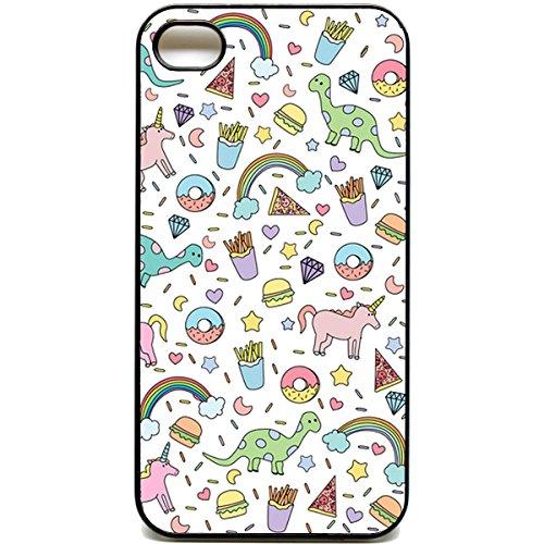 iPhone 4/4S custodia carino motivo unicorno con arcobaleno e citazioni di ciambella per patatine fritte