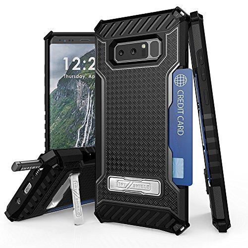 Galaxy Note 8Case, TJS Dual Layer Hybrid Tropfen Schutz, Resist Rugged Armor Case Card Slot Metallständer für Samsung Galaxy Note 8, schwarz/schwarz (Cricket Phone Wireless Card)
