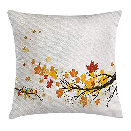 Fall Throw Pillow Cushion Cover, Seasonal Tree Branches with Pale Colors September Foliage with Warm Leaves Print, Decorative Square Accent Pillow Case, 18 X 18 inches, Multicolor