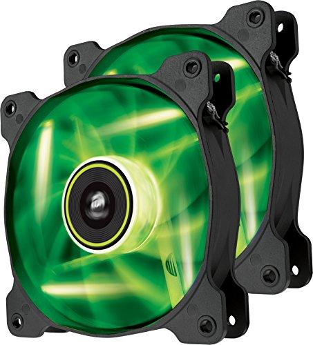 Corsair SP120 LED PC-Gehäuselüfter (120mm, Leise, Hoher Luftdurchsatz, grün LED, Dual Pack)