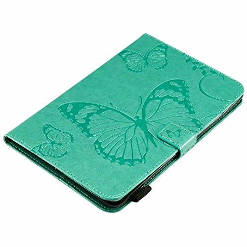 Samsung Galaxy Tab E 24,4cm T560, 3D Relief Schmetterling Flip Wallet PU Leder Ständer Schutzhülle mit Kartenfächer Schutzhülle für Galaxy Tab E 24,4cm T560Tablet, grün - Glas-steinen Karte