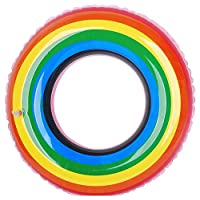 ZHANGJIANJUN Rainbow Anillo de Natación Piscina Inflable Piscina de Flotación Flotación para Hijos Adultos Balsa Tubo Kid Anillo de Natación Verano Juguetes de Agua,120cm sin asa
