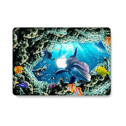 AQYLQ MacBook Schutzhülle/Hard Case Cover Laptop Hülle [Für MacBook Air 13 Zoll: A1369/A1466] - Ultradünne Plastik Matt Gummierte Hartschale Schutzhülle, HY-4 Korallen und Hai