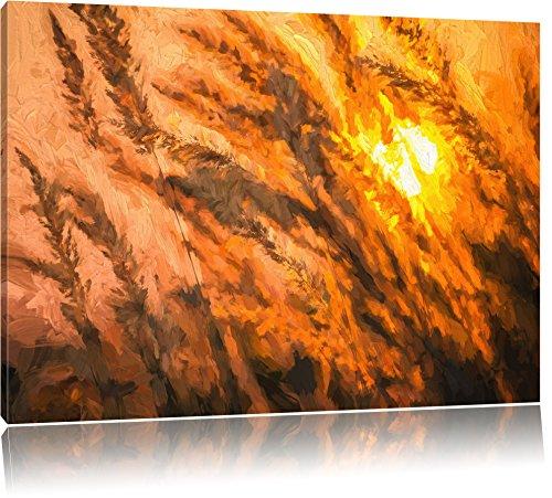 trockener-schilf-im-wundervollen-sonnenuntergang-pinsel-effekt-format-120x80-auf-leinwand-xxl-riesig