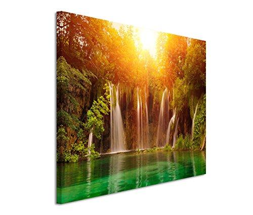 Kunstdruck auf Leinwand 120x80cm Landschaftsfotografie – Wasserfall im Nationalpark Plitvice Kroatien