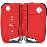 Hülle für 3-Tasten Autoschlüssel - kwmobile Silikon Schlüssel Schutzhülle in Rot - Etui Schlüsselhülle Cover Auto Zündschlüssel