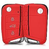 kwmobile VW Golf 7 MK7 Autoschlüssel Hülle - Silikon Schutzhülle Schlüsselhülle Cover für VW Golf 7 MK7 3-Tasten Autoschlüssel Rot
