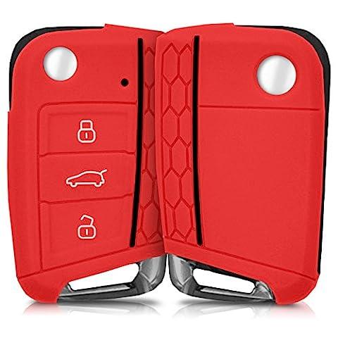 Hülle für VW Golf 7 MK7 3-Tasten Autoschlüssel - kwmobile Silikon Schlüssel Schutzhülle in Rot - Etui Schlüsselhülle Cover Klappschlüssel