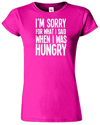 I'M SORRY FOR WHAT I SAID Damen TShirt Lustiges Top TShirt Heliconia / Weiß Design