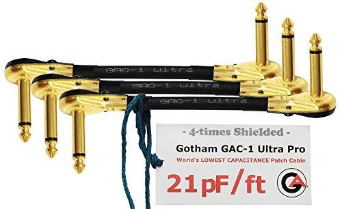 Gotham GAC-1Ultra ProPatchkabel,15cm,flache Kappe (21 pF/Fuß), für Gitarren/Instrumente mit Bass-Effekt, S-förmiges Patchkabel mit vergoldeten 6,35mm flachen Pancake-Stecker,3Stück