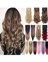 8caf6d9a87 Clip in Hair Extension 8 Pcs 18 Clips Straight Curly Black Blonde Brown  17-26