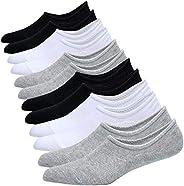 Jormatt Mens Cotton Low Cut No Show Socks With Non Slip Grips, 6 Pairs