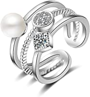 Swarovski Element Pearl Ring for Women Adjustable Size