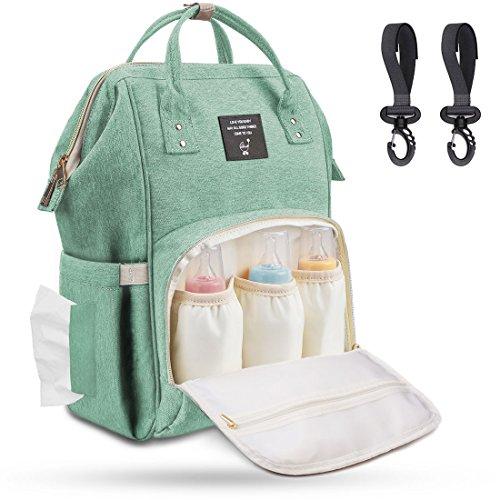 Baby Wickeltasche Wickelrucksack Groß mit Kinderwagenhaken, Multifunktionale Babytasche mit vielen Fächern für Spielzeug, Windeln, Trinkflaschen, Handys und andere Babysachen, Türkis