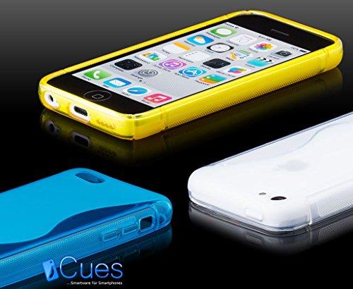 iCues Apple iPhone 5C    S-Line TPU Case Rot   [Display Schutzfolie Inklusive] Transparent Klarsichthülle Durchsichtig Klare Klarsicht Silikon Gel Schutzhülle Hülle Cover Schutz Blau