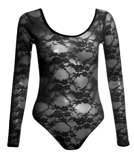 Fast Fashion Damen Body Plus Größe Langen Ärmeln Blumenspitze Knopfverschluss Unten Schwarz