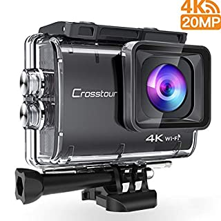Crosstour Action Camera Real 4K UHD 20 mp Wifi Underwater Cam 40M with Eis Anti-Shake Time-Lapse Plus Accessories Sets For Cycling Skiing Snowboarding Snorkeling