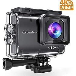 Crosstour Caméra Sport 4K 20MP Appareil Photo WiFi Caméscope Étanche 40M Anti-Shake Time-Lapse avec 2 Batteries Rechargeables 1350mAh Plus Un USB Chargeur et Kit d'accessoires