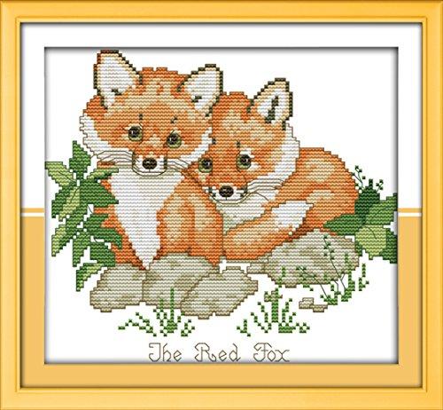 CaptainCrafts-Kreuzstichset-Muster, Stickerei-Set–Red Foxes., rot / weiß, Weiß -