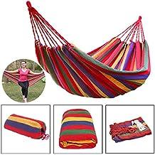 Hamaca colgante de lona para estar al aire libre en verano para dos personas + bolsa de transporte (2 m x 1,5 m), de la marca WSS
