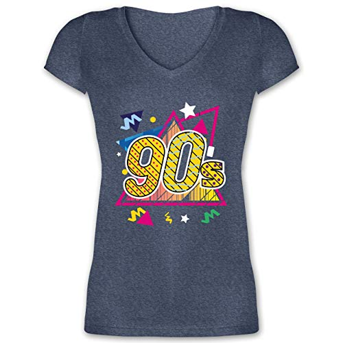Vintage - 90's Retro - bunt - XL - Dunkelblau meliert - XO1525 - Damen T-Shirt mit V-Ausschnitt
