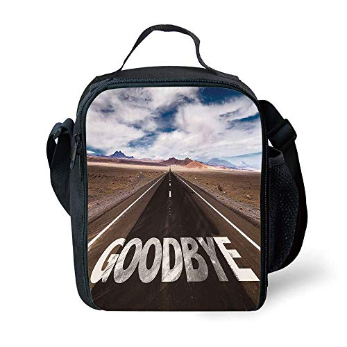 ZKHTO School Supplies Going Away Party Decorations,Goodbye Written on Asphalt Road Highway City Urban Words,Brown Blue White for Girls or Boys Washable