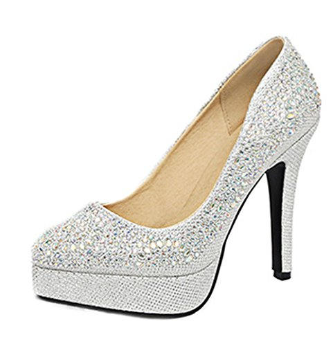 Aisun Damen Sexy High Heels Glitzer Pointed Toe Plateau Pumps