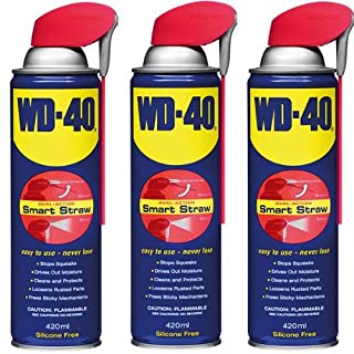 3 x WD-40 Smart Straw Aerosol 420ml Penetrant, Lubricant, Releasant Oil / Stops squeaks / Cleans and protects / Loosens rusted parts / Frees sticky mechanisms